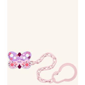 Nuk Αλυσίδα Πιπίλας (10.751.023) για Πιπίλες με Κρίκο σε χρώμα Ροζ,(πεταλούδα) 1 μητερα   παιδι   αξεσουαρ βρεφουσ   αλυσιδεσ πιπιλασ