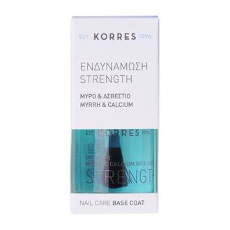 Korres Strength Base Coat Ενδυνάμωσης Νυχιών με Μύρο & Ασβέστιο, 10ml γυναικα   μακιγιαζ   μανο