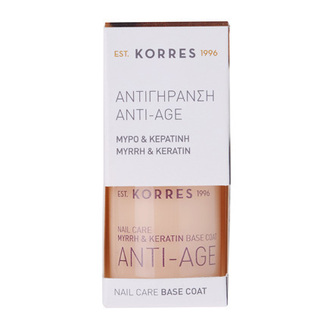 Korres Anti Age Base Coat για Αντιγήρανση των Νυχιών με Μύρο & Κερατίνη, 10ml γυναικα   μακιγιαζ   μανο