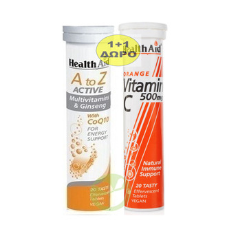 Health Aid - 1+1 Δώρο - A to Z Πολυβιταμίνη με Τζίνσενγκ & Συνένζυμο Q10 Χωρίς Ι ενεργεια   διατροφη   βιταμινεσ   βιταμινη c